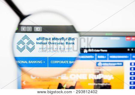 Los Angeles, California, Usa - 5 April 2019: Illustrative Editorial Of Indian Overseas Bank Website