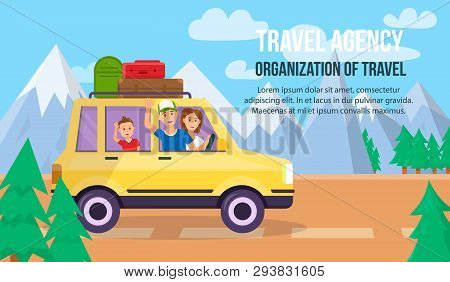 Travel Agency. Organization Of Travel Horizontal Banner With Copy Space. Parents And Son Traveling B