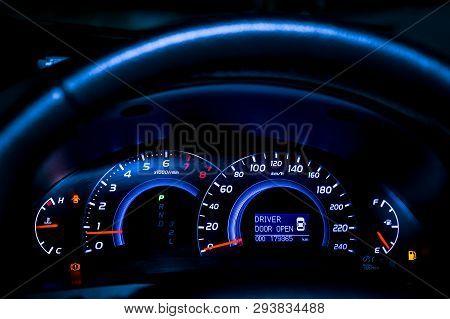 Closeup Light Sign Dashboard Of Mileage Car