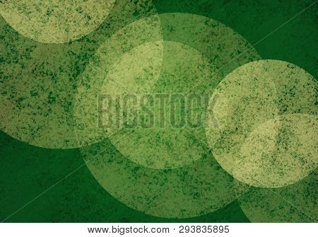 Large White Bokeh Lights On Green Background With Textures, Christmas Color