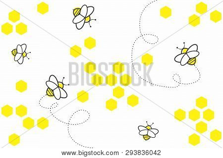 Abstract Geometric Background With Yellow Hexagons And Bees On White Background. Seamless Pattern Wi