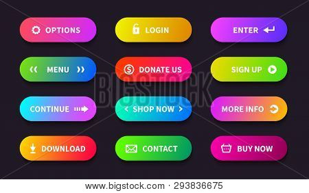 Gradient Action Button. Shop Download Banner, Flat Oval Interface, Web Ui Navigation Buttons. Vector