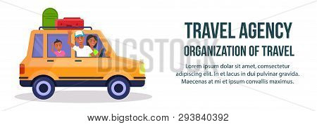 Travel Agency. Organization Of Travel Horizontal Banner With Copy Space. Cheerful Mother, Dad And Ki