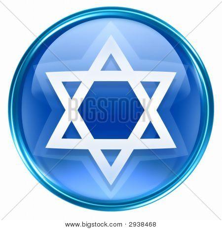 David Star Icon Blue, Isolated On White Background.