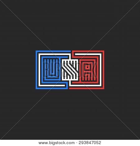 Abbreviation Usa Logo, Emblem For T-shirt Print Or Sticker Design, Patriotic Monogram Symbol Colors