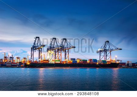 Transportation And Shipping Logistics Loading Dock Terminal., Container Import And Export Of Sea Fre