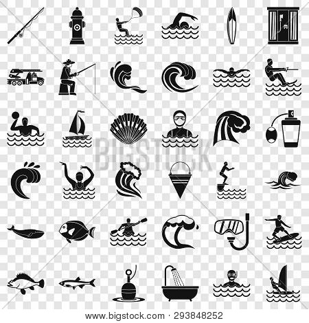 Ocean Water Icons Set. Simple Style Of 36 Ocean Water Vector Icons For Web For Any Design