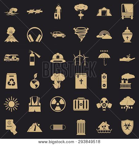 Danger Disaster Icons Set. Simple Style Of 36 Danger Disaster Vector Icons For Web For Any Design