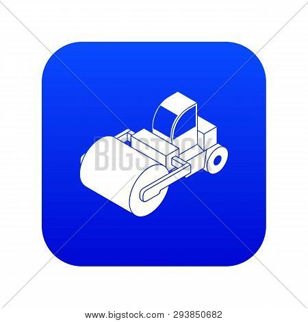 Roller Truck Icon Blue Vector Isolated On White Background