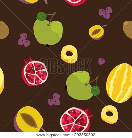 Tropical Exotic Fruits Seamless Pattern. Cute Fresh Organic Fruits Background. Vector Illustration O
