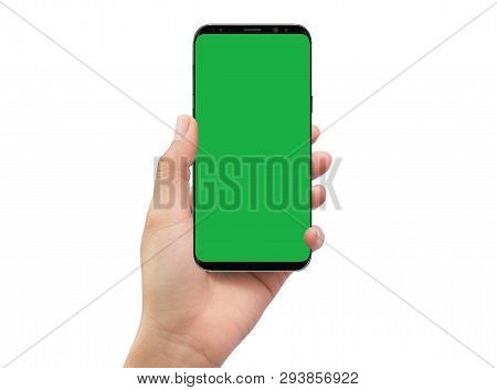 Isolated Human Left Hand Holding Black Mobile Green Screen Smartphone
