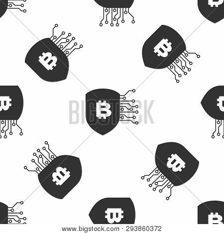 Grey Shield With Bitcoin Icon Isolated Seamless Pattern On White Background. Cryptocurrency Mining,