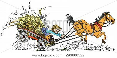 Cartoon Old Horse Pulled A Wooden Cart With Hay And Aged Farmer . Man Trying To Control His Unruly P