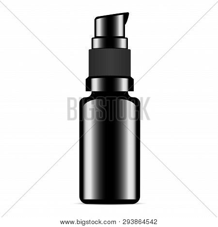 Serum Bottle. Black Foundation Or Collagen Vial. Hair Cosmetic Essence Shiny Package. Glossy Templat