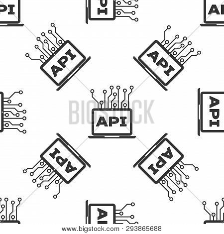 Grey Computer Api Interface Icon Isolated Seamless Pattern On White Background. Application Programm