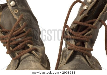 Old Leather Boots - Close Up
