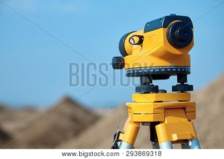 Special Device (level) For Surveyor Builders, Geodesy Equipment Close Up. Outdoors, Copy Space.
