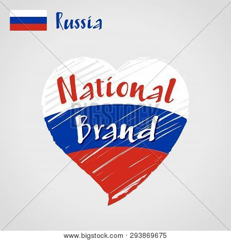 Vector Flag Heart Of Russia, National Brand. Russia Flag In Shape Of Heart, Pencil Strokes Drawing.