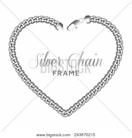 Silver Chain Heart Love Border Frame. Wreath Shape With A Lobster Claw Clasp Lock. Jewelry Design, T