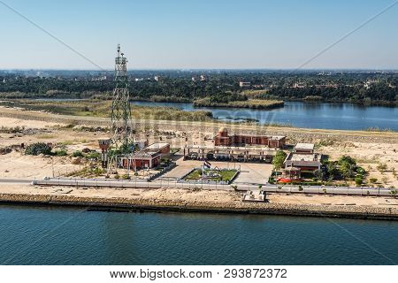 Ismailia, Egypt - November 5, 2017: Military Built And Telecommunication Tower On The Shore Of The S