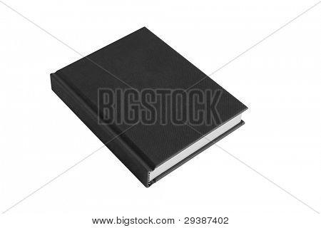 black hardback casebound book isolated on a white background