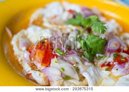 Spicy  Sour Salted Fried Eggs With Salad