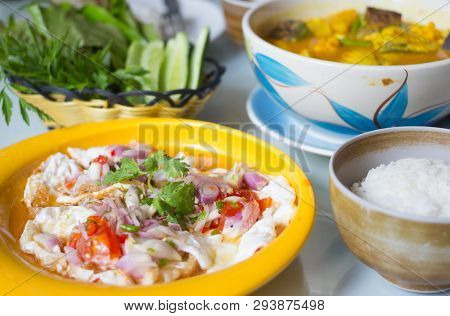Spicy Salted Fried Eggs With Salad