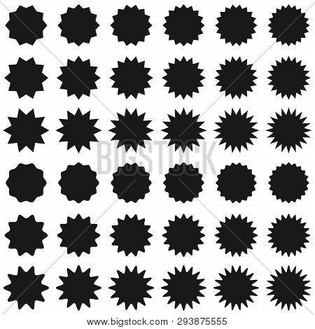 Promo Sale Starburst Or Sticker Of Sunburst Label Icon. Vector Black Star Price Tag Or Quality Mark
