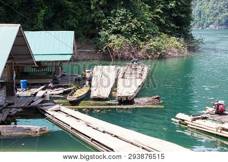 The Floating Old Wooden House In Green Lake