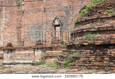 Ancient Brown Brick And Stone Wall Temple