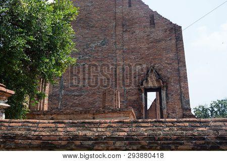 Ancient Brown Brick Wall Temple