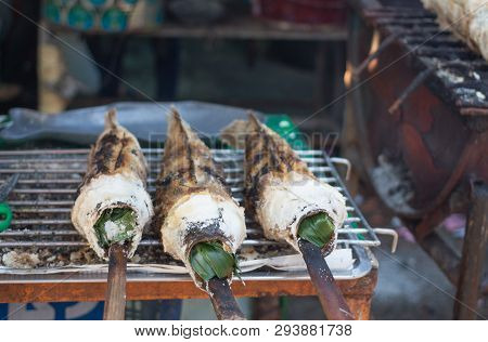 Snakehead Fish Grilled With Salt Striped