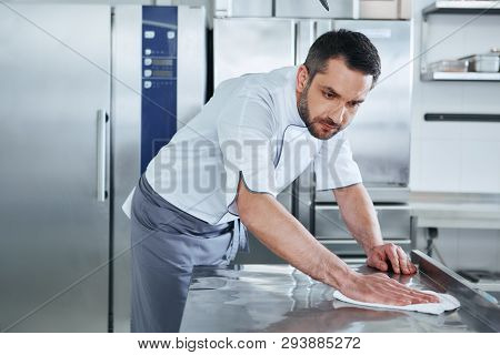 When Preparing Foods Keep It Clean, A Dirty Area Should Not Be Seen. Young Male Professional Cook Cl
