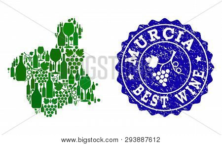 Vector combination of grape wine map of Murcia Spanish Province and blue grunge stamp for best wine awards. Map of Murcia Spanish Province collage designed with green bottles and grape berries. poster