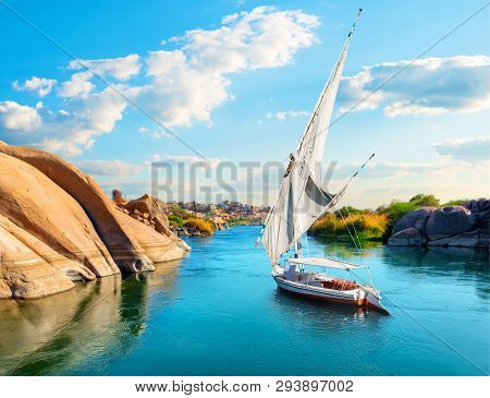River Nile In Egypt. Aswan In Africa