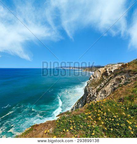 Summer Ocean Coastline View Near Beach Azkorri Or Gorrondatxe In Getxo Town, Biscay, Basque Country