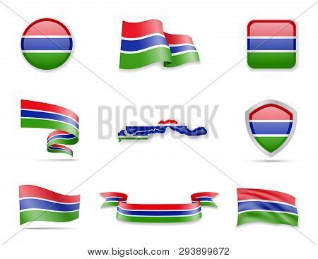 Gambia Flags Collection. Vector Illustration Set Flags And Outline Of The Country.