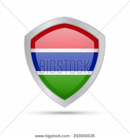 Shield With Gambia Flag On White Background.