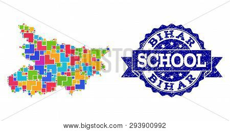 Mosaic Puzzle Map Of Bihar State And Unclean School Seal With Ribbon. Vector Map Of Bihar State Desi