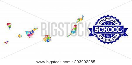 Mosaic Puzzle Map Of Canary Islands And Unclean School Seal With Ribbon. Vector Map Of Canary Island