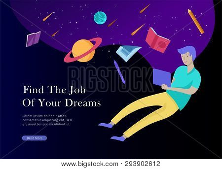 Job Presentation Banner Page. Inspired People Flying, Choose Career Or Interview A Candidate, Agency