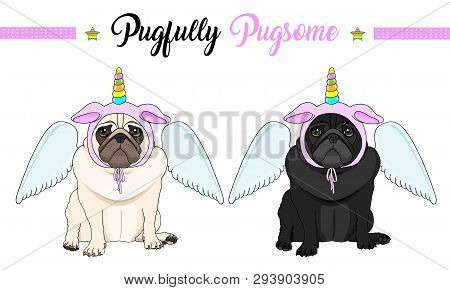 Cute Vector Pug Puppy Dog Sitting Down, Wearing Pink Bonnet With Unicorn Horn With Rainbow Colors An