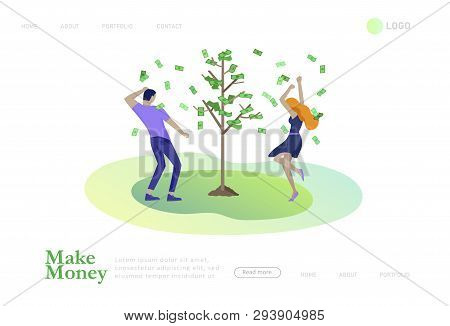 Landing Page Template Happy People With Money, Characters In Move Make Money. Business Investment, M