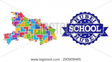 Mosaic Puzzle Map Of Hubei Province And Rubber School Seal Stamp With Ribbon. Vector Map Of Hubei Pr