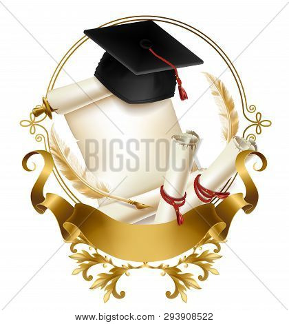College Or School Emblem 3d Realistic Vector. Graduation Hat On Blank Parchment Scroll Of Diploma Or