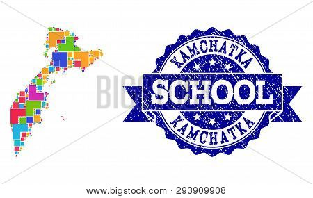 Mosaic Puzzle Map Of Kamchatka Peninsula And Corroded School Seal Stamp With Ribbon. Vector Map Of K