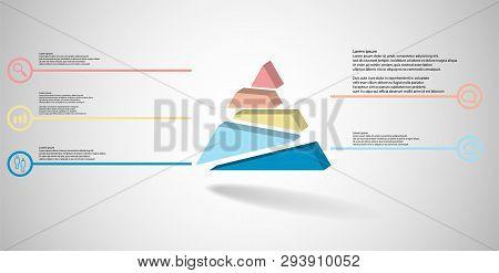3D Illustration Infographic Template With Embossed Triangle Randomly Divided To Five Shifted Parts