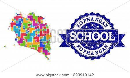 Mosaic Puzzle Map Of Ko Pha Ngan And Unclean School Stamp With Ribbon. Vector Map Of Ko Pha Ngan Des