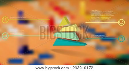 3d Illustration Infographic Template. The Embossed Triangle Is Randomly Divided To Four Shifted Colo
