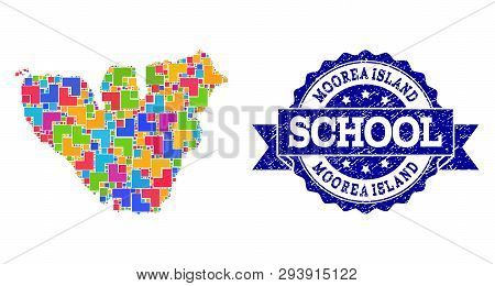 Mosaic Puzzle Map Of Moorea Island And Unclean School Stamp With Ribbon. Vector Map Of Moorea Island